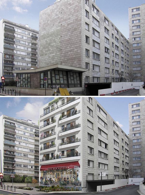 生活空間があるみたい。建物の壁に建物を描く壁画 (5)