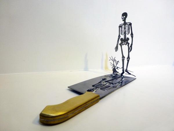 包丁からシルエット。ブッチャーナイフから金属彫刻 (2)
