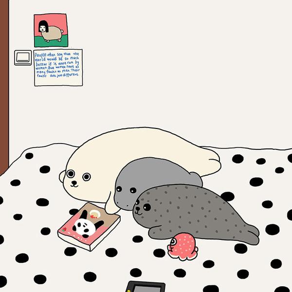 ゆ、ゆるすぎる!アザラシの日常生活を描いた癒されイラスト (23)