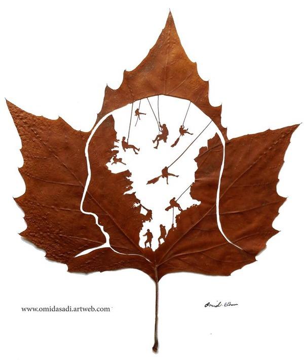 脆くて繊細な落ち葉にモチーフを彫る!カッティングアート (8)
