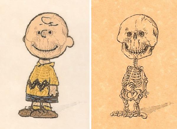 解剖学?漫画やアニメのキャラクターに骨付けしたイラスト! (9)