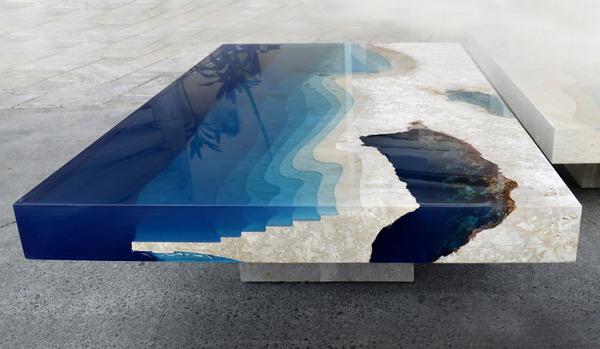 樹脂とトラバーチン製のコーヒーテーブル『Lagoon Tables』 (3)