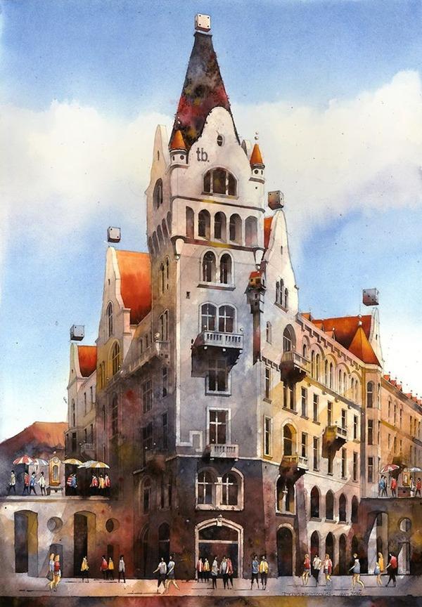19世紀のポーランドの街並みに触発された都市の水彩画 (7)