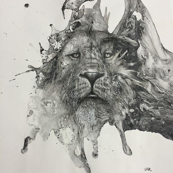 インクを注ぎ、飛び散らせてカオスなイラストレーションを描く (2)