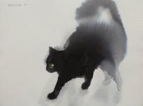 水彩画で描かれた猫の画がふんわり美しい!黒猫の絵