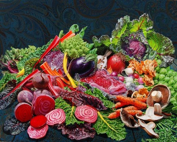 色鮮やかな果物と野菜の静物画,油絵 エリック・ワート 4