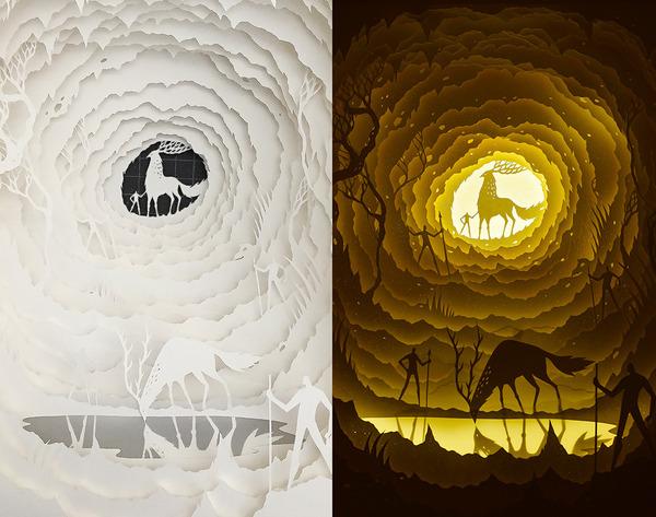 紙のジオラマ!幻想的な架空世界を描くペーパーアート (9)