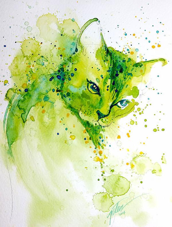 飛散する色彩と水滴!カラフルで可愛い小動物の水彩画 (14)