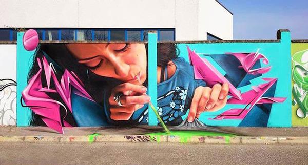 3Dペイントによる壁画ストリートアート 6
