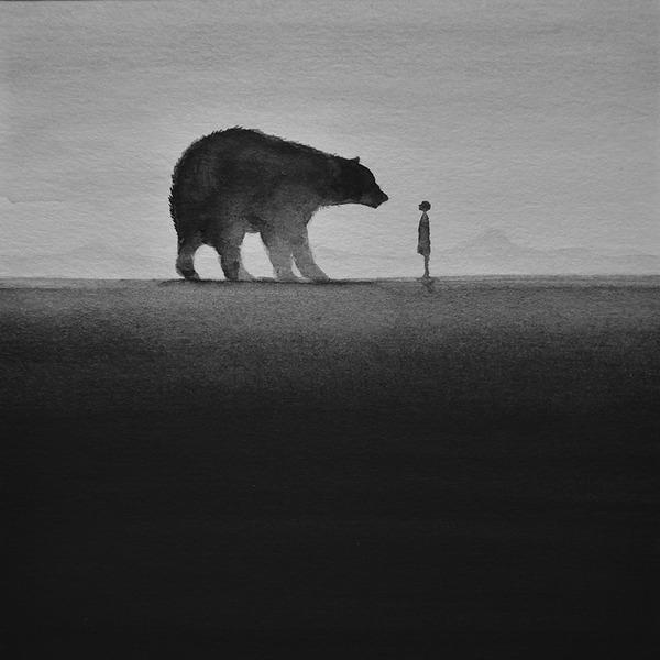動物と少年のモノクロ絵画 Elicia Edijanto (3)