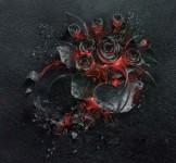 刹那の美しさ。燻り燃える薔薇の花束