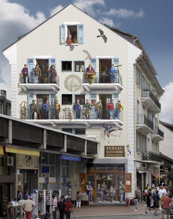 生活空間があるみたい。建物の壁に建物を描く壁画 (6)
