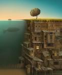 世界観のゲーム!不思議な地球が描かれたイラストアート