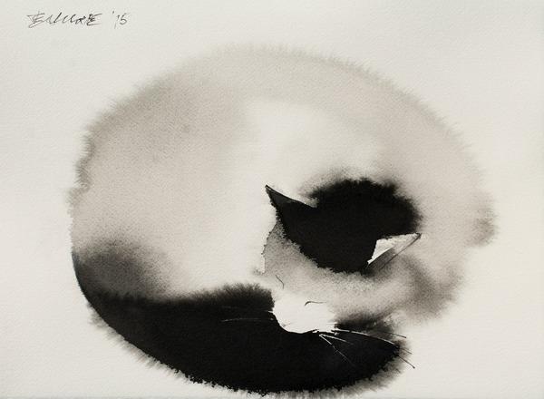 水墨画のような黒猫の水彩画 エンドレ・ペノベック5