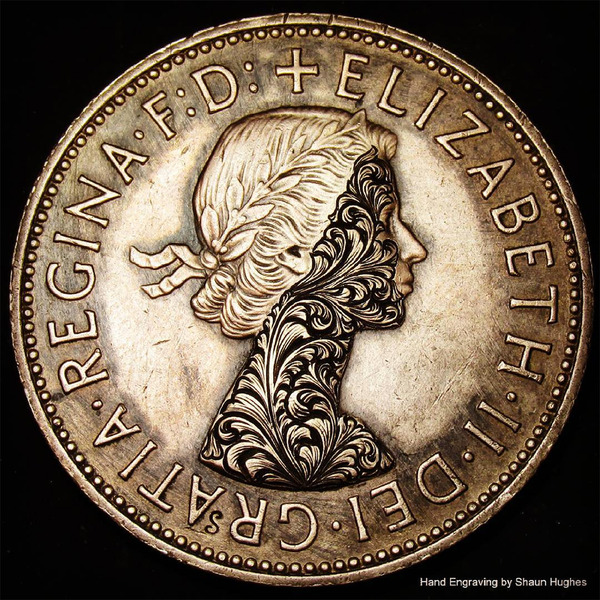 超繊細!コインに花の模様を彫る彫刻作品 (7)