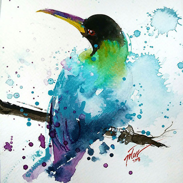 飛散する色彩と水滴!カラフルで可愛い小動物の水彩画 (11)