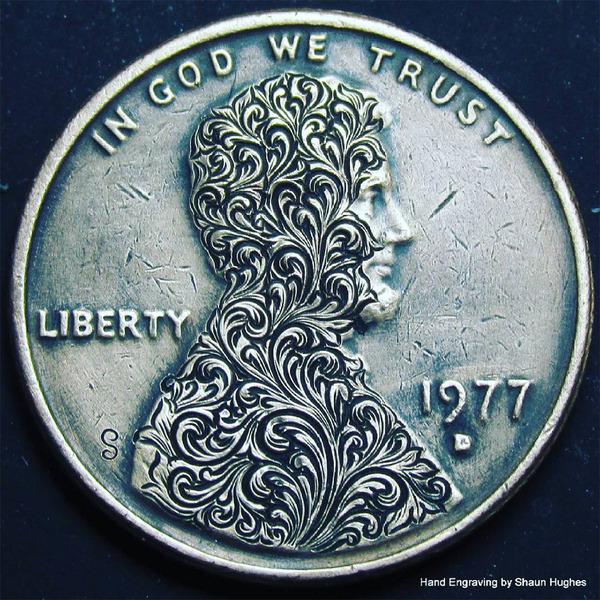 超繊細!コインに花の模様を彫る彫刻作品 (2)