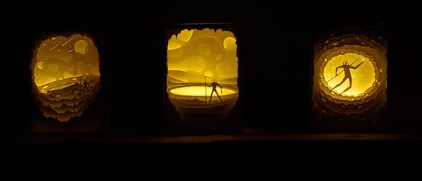 紙のジオラマ!幻想的な架空世界を描くペーパーアート (6)