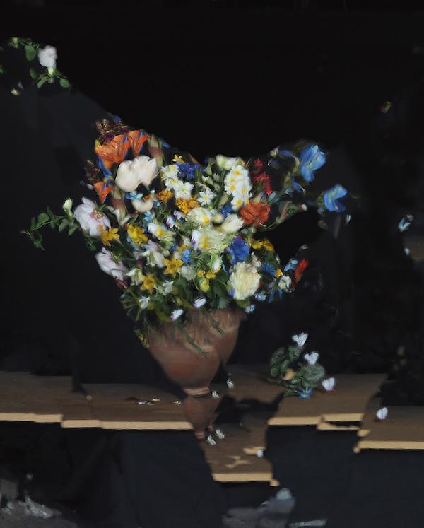 壊れた鏡に反射させた花 7