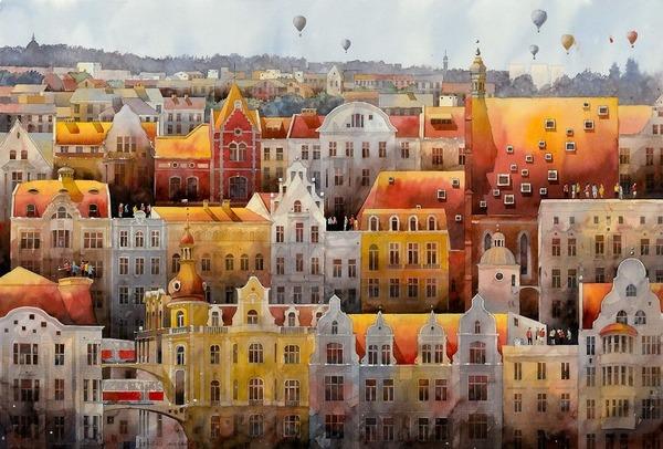 19世紀のポーランドの街並みに触発された都市の水彩画 (8)
