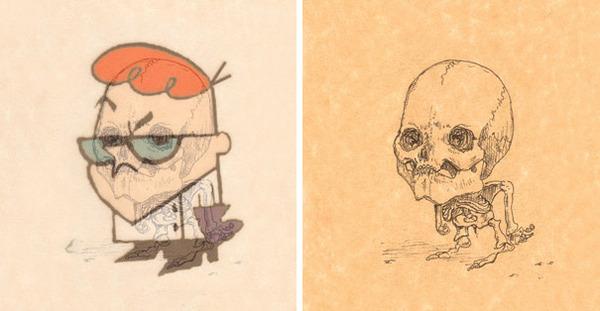 解剖学?漫画やアニメのキャラクターに骨付けしたイラスト! (6)
