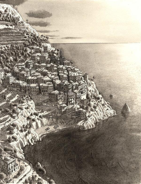 超精密!記憶を頼りに世界の都市景観を描くモノクロ絵画 (5)
