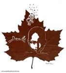 脆くて繊細!落ち葉にモチーフをくりぬいたカッティングアート