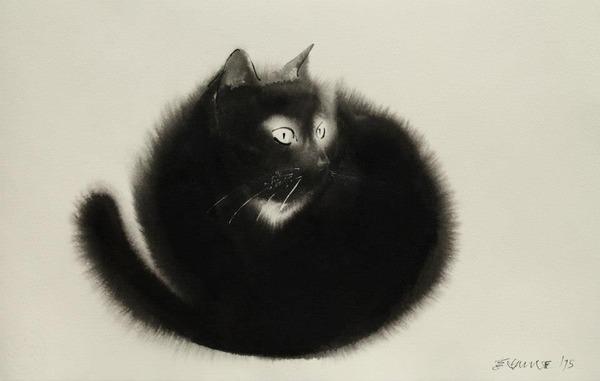 水墨画のような黒猫の水彩画 エンドレ・ペノベック