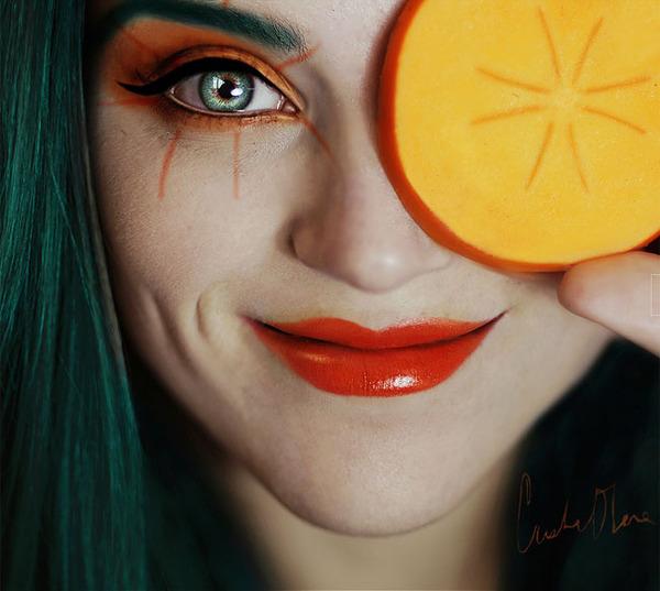 奇抜なフルーツメイク!果物に触発されたセルフポートレート (6)