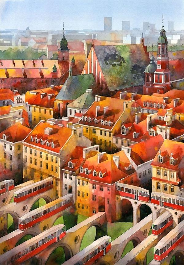 19世紀のポーランドの街並みに触発された都市の水彩画 (11)