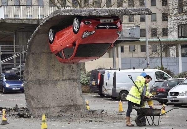 Alex Chinneck's Upside Down Car Installation in London 5