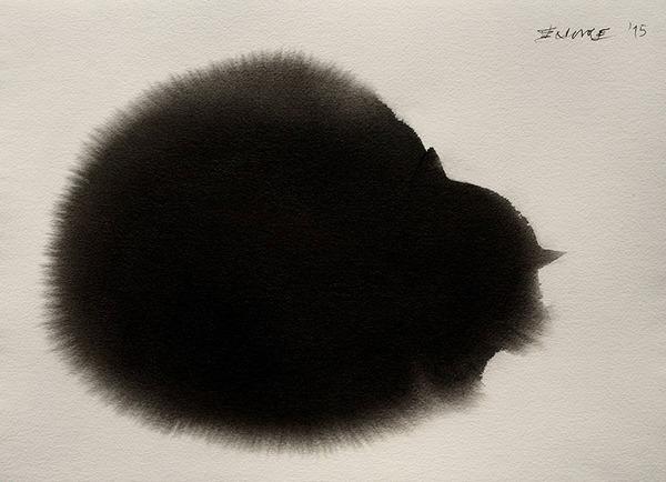 丸まった黒猫の絵