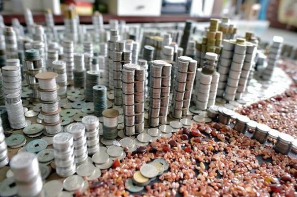 硬貨で作られた都市のレプリカ Peixi 7