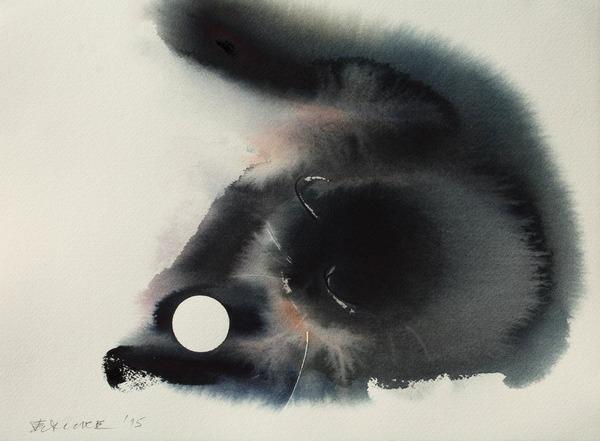 水墨画のような黒猫の水彩画 エンドレ・ペノベック7