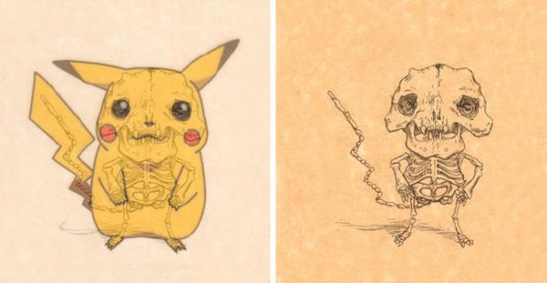 解剖学?漫画やアニメのキャラクターに骨付けしたイラスト! (5)
