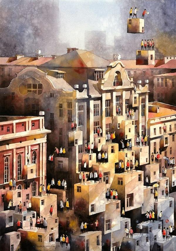 19世紀のポーランドの街並みに触発された都市の水彩画 (12)