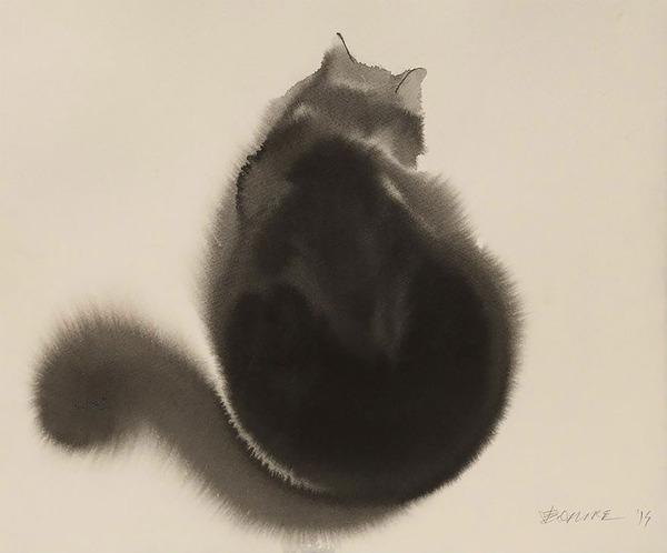 猫の水彩画アート