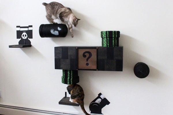 スーパーマリオのステージ風!猫用ジャングルジム(壁)(8)