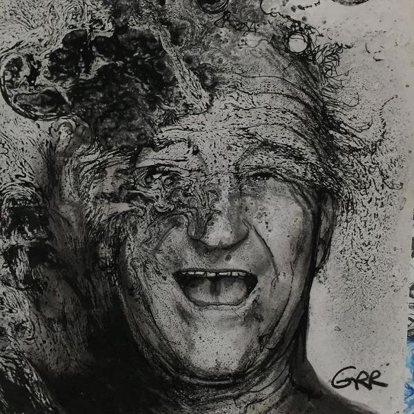インクを注ぎ、飛び散らせてカオスなイラストレーションを描く (11)