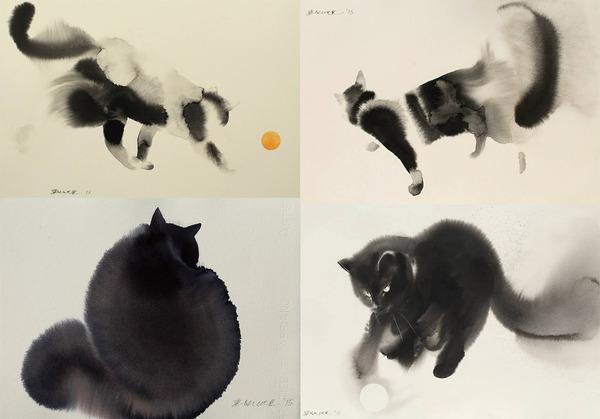 水墨画のような黒猫の水彩画 エンドレ・ペノベック8