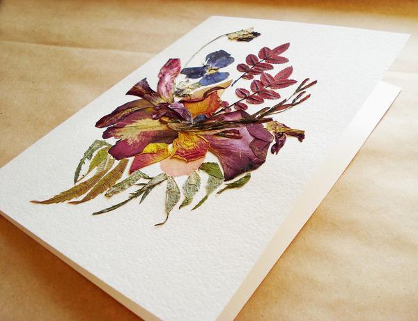 葉や花で自然を描く!植物を素材にした押し花の絵 (9)