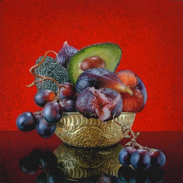 色鮮やかな果物と野菜の静物画,油絵 エリック・ワート 6