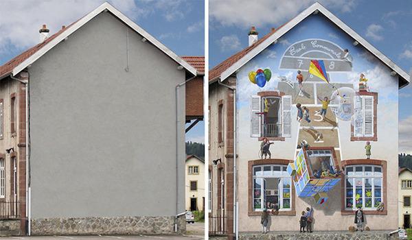 生活空間があるみたい。建物の壁に建物を描く壁画 (4)