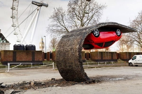 Alex Chinneck's Upside Down Car Installation in London 2
