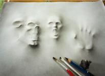 死霊が迫ってくるように浮き出る!立体的に見える3D絵画