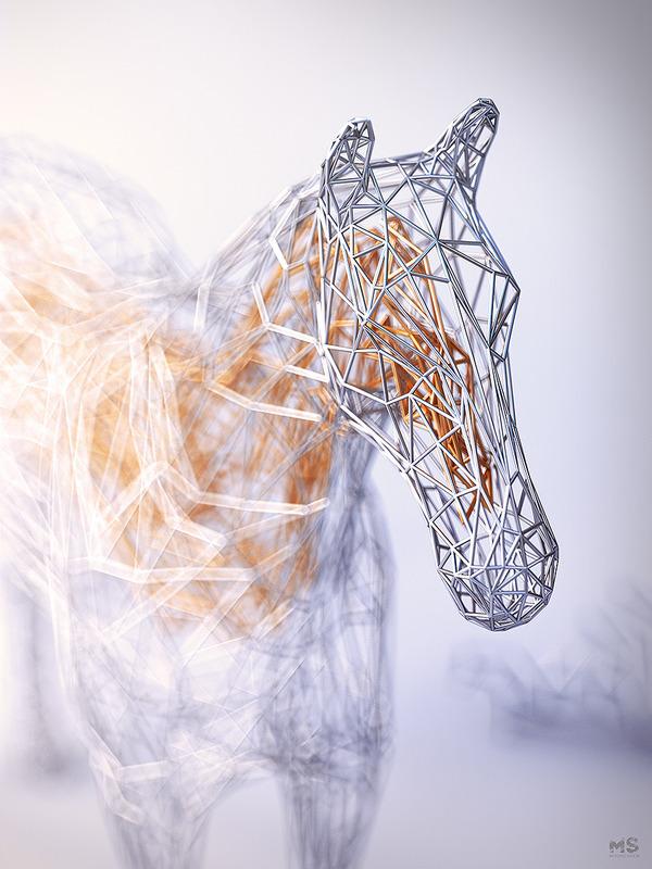 3Dポリゴンみたいな幾何学的動物彫刻 (4)