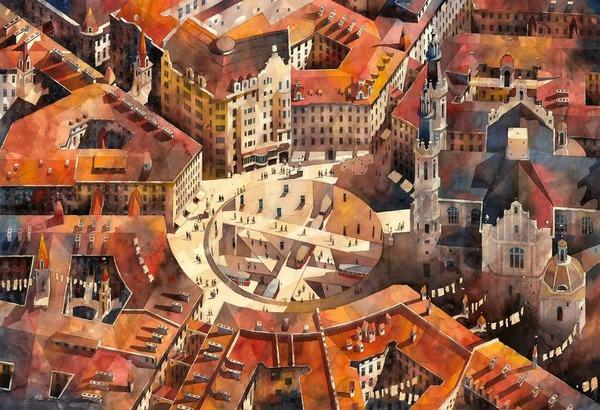19世紀のポーランドの街並みに触発された都市の水彩画 (14)