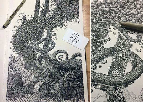 ひたすらに点を打って描く!超繊細な手描きドット絵 (3)