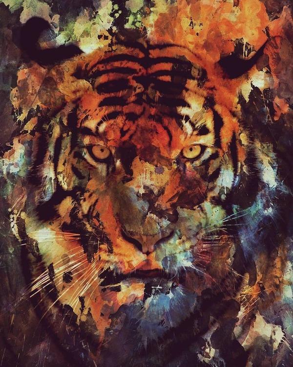 二重露光スタイルによる水彩画の中の野生動物 (2)