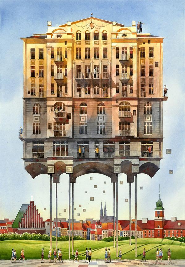19世紀のポーランドの街並みに触発された都市の水彩画 (4)